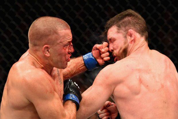GSP sofreu para vencer Bisping (Foto: Reprodução Facebook UFC)