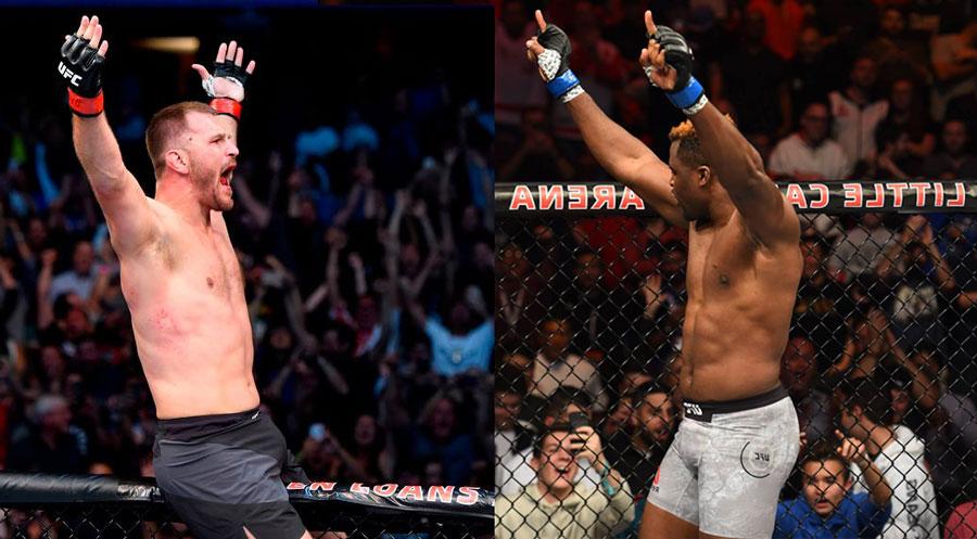 Miocic (esq.) defende título dos pesados contra Ngannou (dir.) no UFC 220. Foto: Reprodução / Facebook UFC