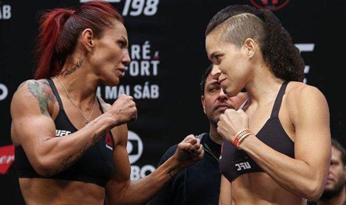 Cyborg (esq.) e Amanda (dir.) duelam no UFC 232. Foto: Reprodução / Instagram CrisCyborg