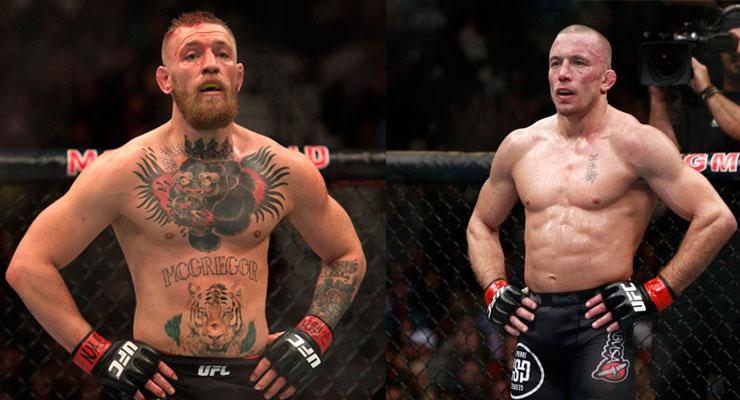 Para Zahabi, McGregor (esq.) x GSP (dir.) seria a maior luta da história. Foto: Montagem / SL-MMA Press