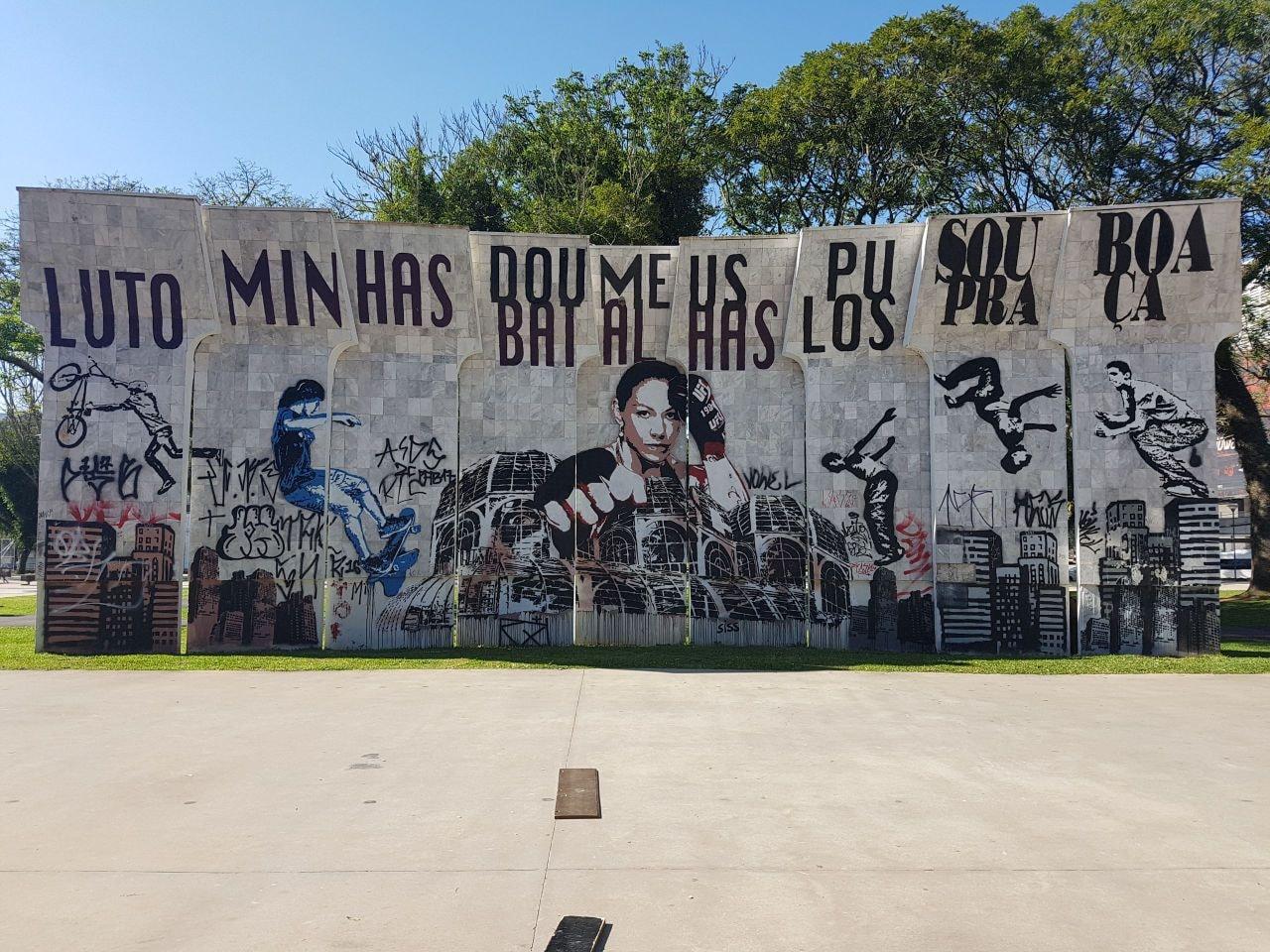 Mural em homenagem a Cyborg é apagado em Curitiba. Foto: Reprodução / Facebook @rafaelgreca
