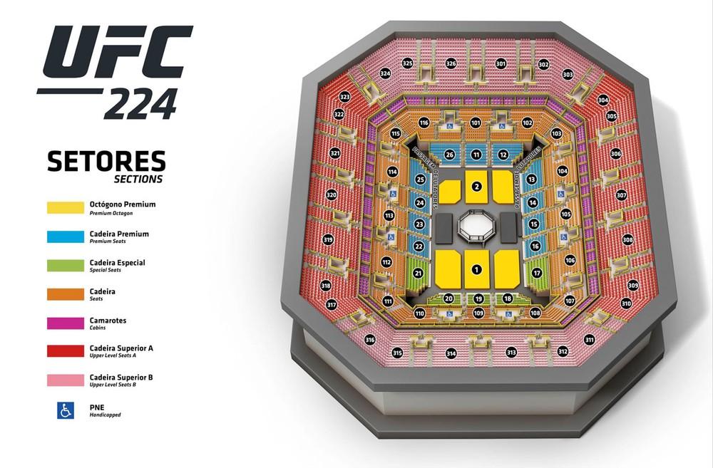 mapa de assentos do UFC 224. Foto: Divulgação / UFC