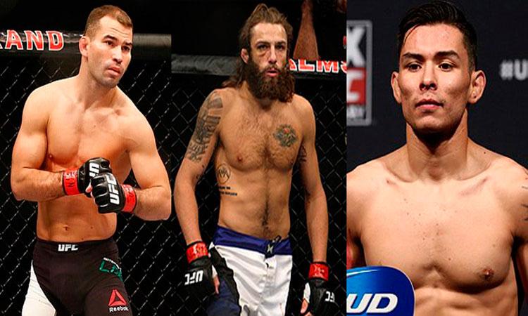 Lobov (esq.), Chiesa (c) e Borg (dir.) estão fora do UFC 223. Foto: Montagem SL MMA Press
