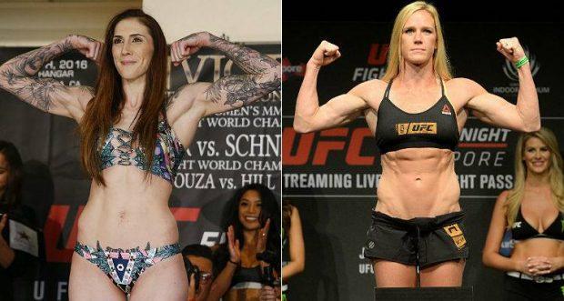 Megan (esq.) encara Holm pelo card principal do UFC 225. Foto: Reprodução
