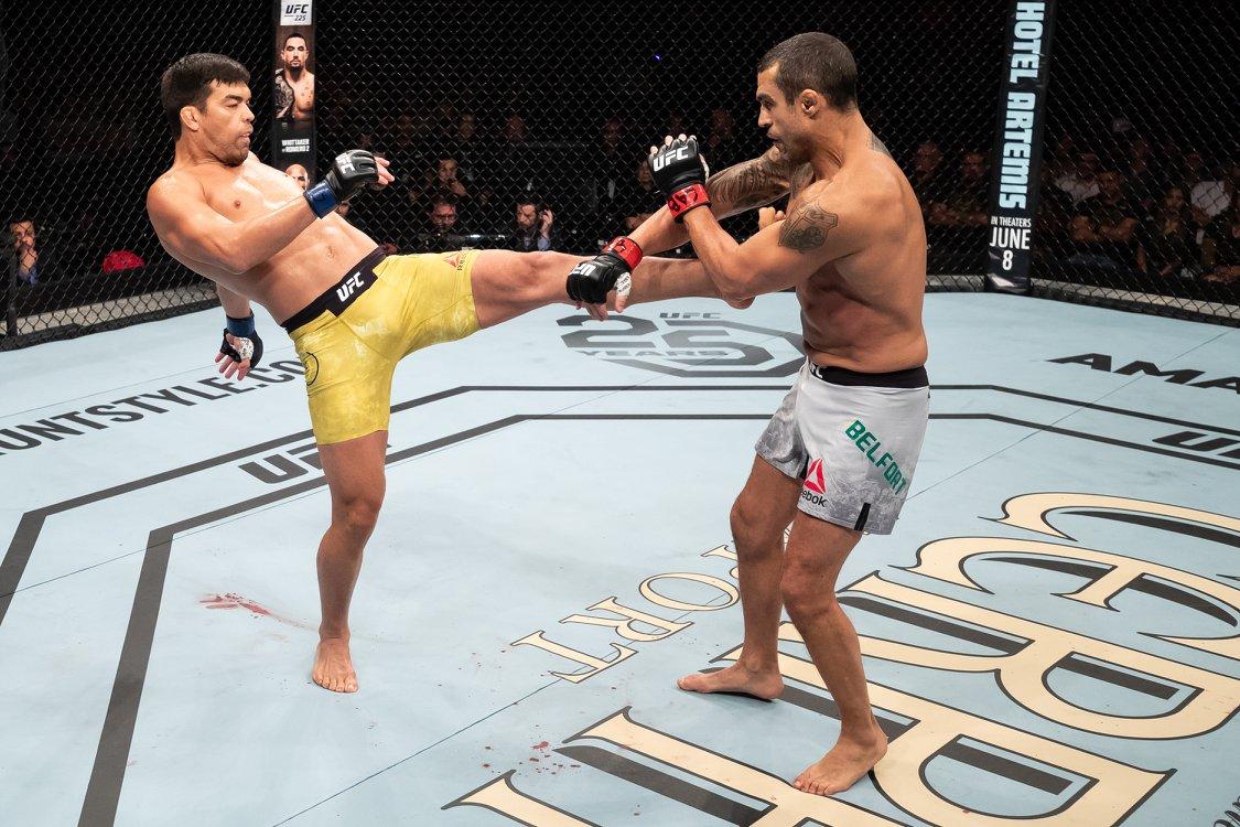 Lyoto (esq.) vence Belfort (dir.) no UFC 224. Foto: Reproduçao / Facebook @ufc