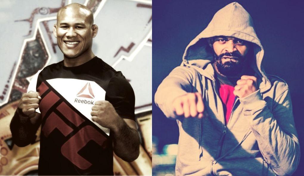 R. Jacaré (esq.) e D. Branch (dir.) se enfrentariam no UFC São Paulo em agosto, mas o brasileiro recusou o desafio do norte-americano. Foto: Montagem SL / MMA Press
