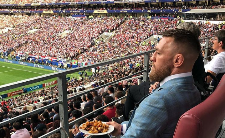 C. McGregor (foto) acompanhou a vitória de 4 a 2 da França sobre a Croácia no camarote presidencial no estádio Lujniki. Foto: Reprodução/Instagram @thenotoriusmma