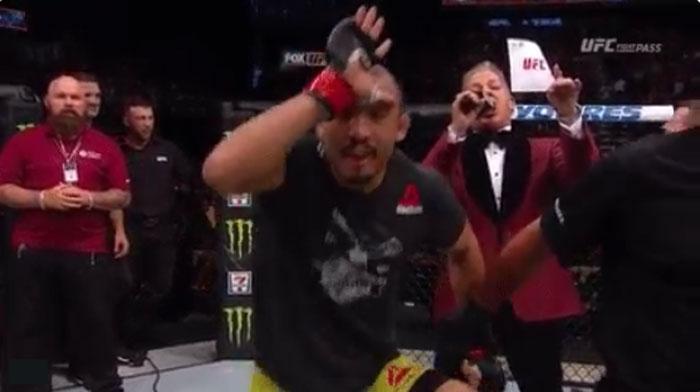 Aldo comemora vitória como personagem do Fortnite, Foto: Reprodução / Twitter ufc