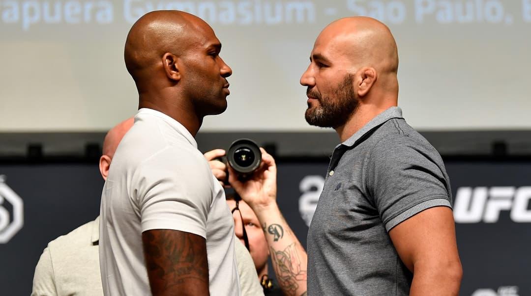 J. Manuwa (esq.) e G. Teixeira (dir.) fazem a luta principal. Foto: Reprodução/Instagram UFC