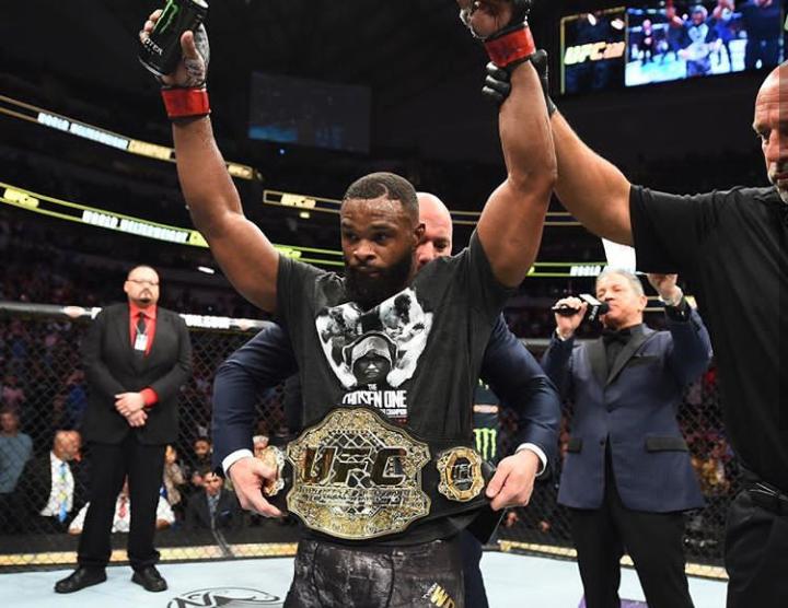 T. Woodley mantém o título. Foto: Reprodução/Instagram UFC