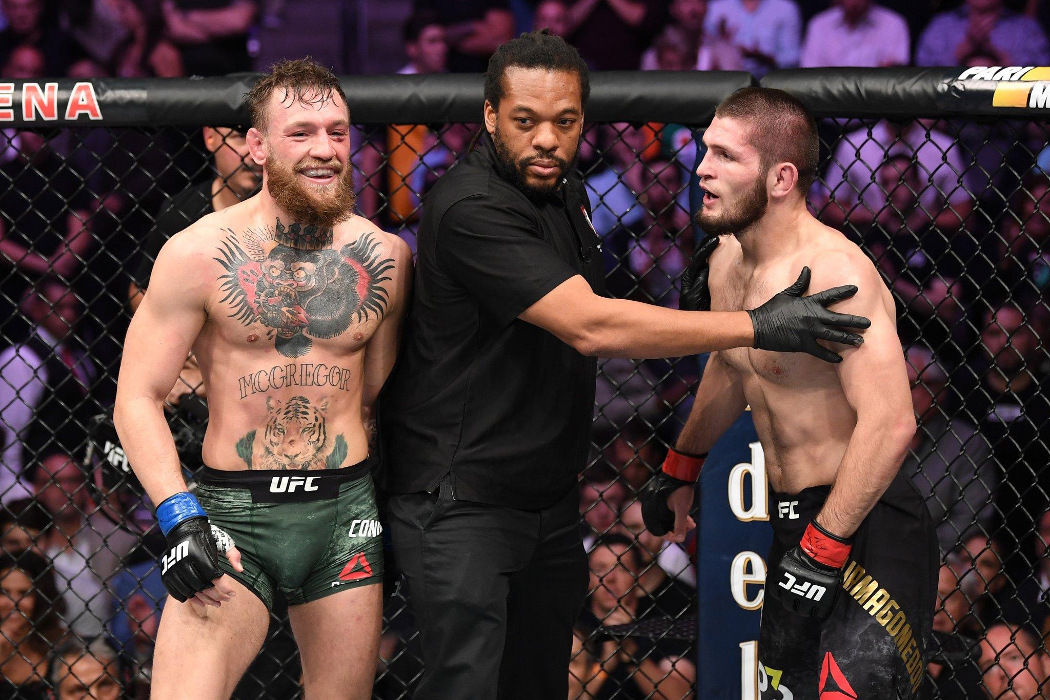 Conor (esq) e Khabib (dir) podem se reencontrar em 2019. Foto:Reprodução/Twitter UFC