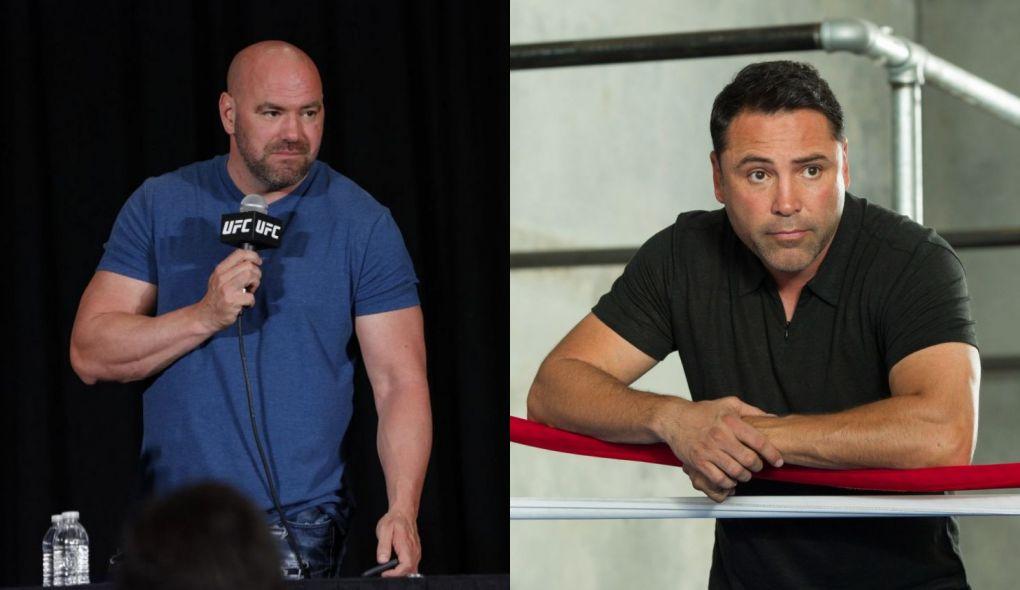 D. White (esq.) e O. De La Hoya (dir.) trocam farpas há algum tempo. Foto: Montagem SL/MMA Press