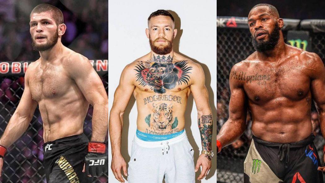 K. Nurmagomedov (esq.), C. McGregor (cen.) e J. Jones (dir.) vão ser julgados pela NAC. Foto: Montagem SL/MMA Press