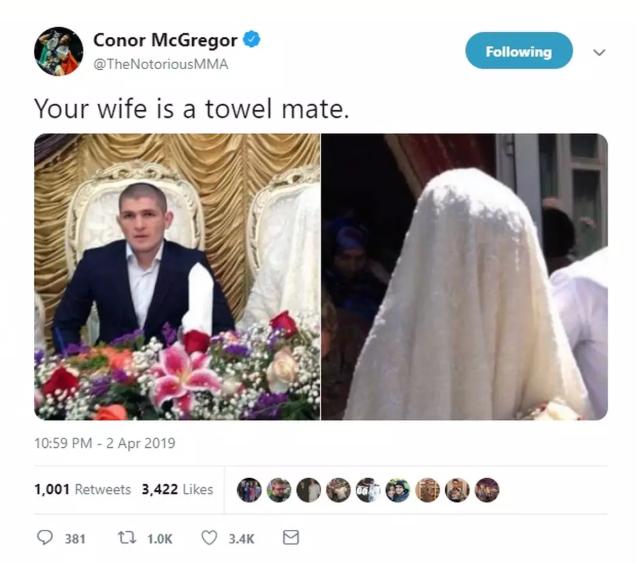 C. McGregor ofende esposa e religião de K. Nurmagomedov. Foto: Reprodução Twitter